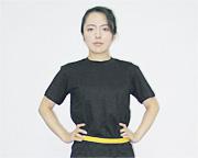 計測用ベルトを被験者の腰部に付ける。